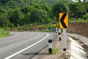 road signs warn for ahead dangerous curve