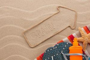 Spain  pointer and beach accessories lying on the sand