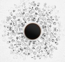 Vista superior de la taza de café y mucho icono de negocios foto