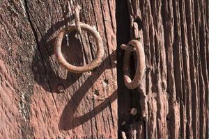 Rusty red door lock