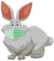 Rabbit cartoon character wearing a mask vector