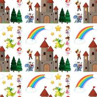 Seamless children fairy tale elements