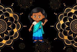 Happy kid and mandala pattern