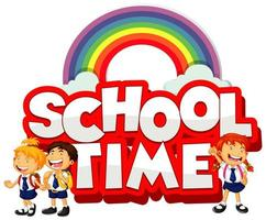 School time text with rainbow and kids vector