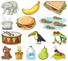 Large set of different animals and other objects  vector