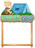plantilla de borde con niño en el campamento de verano vector