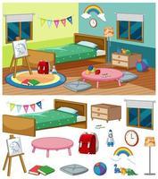 escena de dormitorio y juego de muebles. vector