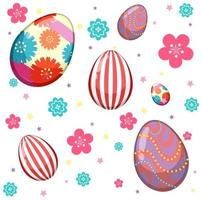 Pattern of easter eggs and colorful flowers vector