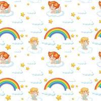 Seamless cute angel, rainbow, and star pattern