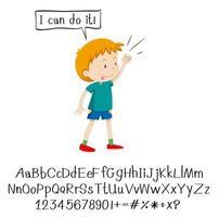 niño diciendo que puedo hacerlo y el alfabeto