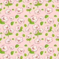 Seamless pattern with cute sunflowers and leaves vector
