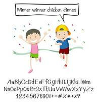 Kids in race and alphabet vector