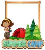 plantilla de borde con niña en el campamento de verano