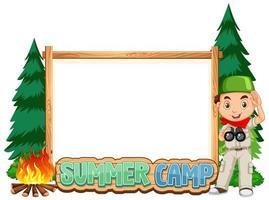 plantilla de borde con niño en el campamento de verano