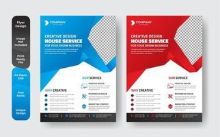 moderno conjunto de folletos de negocios de forma geométrica azul y roja