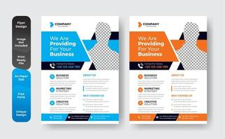 Business orange and blue business template set