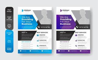 Blue and purple corporate business flyer template set