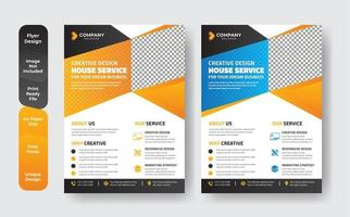 Geometric Blue and Orange Business Flyer Set  vector