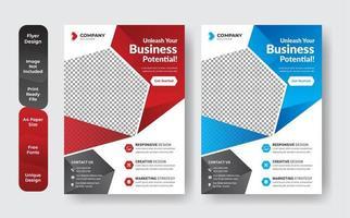 diseño de diseño de plantilla de folleto en rojo y azul vector