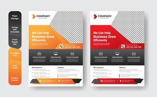 Orange and red business flyer template set  vector