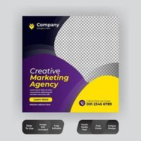 Purple and yellow geometric shapes social media template vector