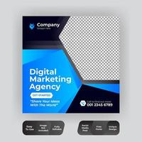 Social media post template blue and black design vector