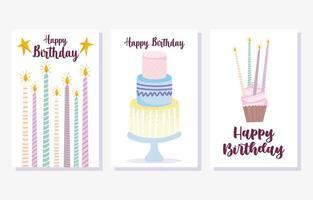 pastel, velas encendidas, cupcake, tarjeta, conjunto
