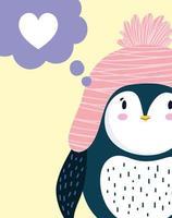 Penguin winter hat antarctic bird vector