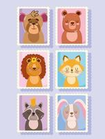 Animals cartoon postage mail stamps vector