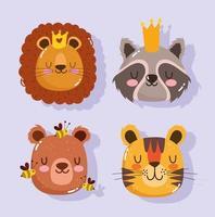 lion raton laveur tigre ours et abeille visages d'animaux