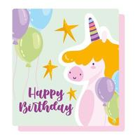 Happy birthday unicorn balloons card