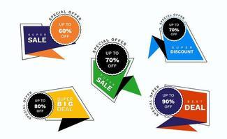 reeks kleurrijke geometrische verkoopmarkeringen en etiketten