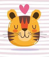 Cartoon animal adorable wild character tiger heart vector