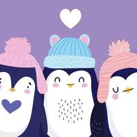pinguins adoráveis com chapéus de pom pom vetor