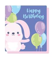 Rabbit balloons celebration decoration card