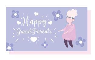 abuela anciana con flores tarjeta de dibujos animados