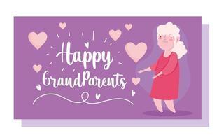 Linda tarjeta de dibujos animados de corazones de anciana