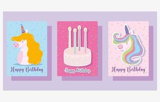 feliz cumpleaños pastel y velas conjunto de tarjetas