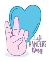 linkshandigen dag poster met hand die vrede toont
