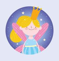 Blonde fairy princess with crown in circle frame