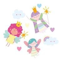 Flying little fairy princesses among clouds and hearts