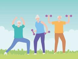 gruppo di persone anziane che esercitano nel parco