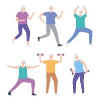 Elderly People Practicing Exercises vector