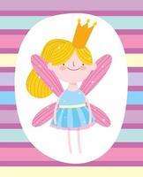 sprookjesprinses met kroon op gestreept patroon