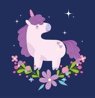 Einhorn Fantasie Magie Tier mit Blumen