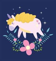 Unicorn Floating Above Flowers on Dark Background vector