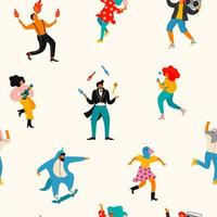 People having fun seamless pattern