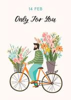 man met bloemen op een fiets voor Valentijnsdag