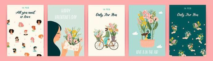 Set of romantic designs for Valentine's Day cards vector