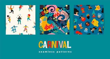 Set of Carnival seamless patterns